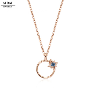 Top design quality gold-plated necklace exquisite blue zircon necklace