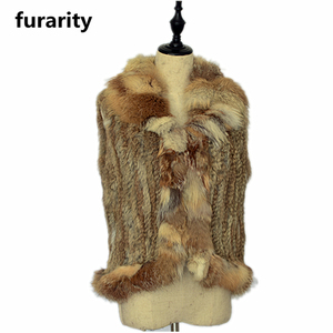 SF0178 2017 Fashion real fur fox vest Rabbit fur vest knitted with fox fur collar abrigos de piel genuina