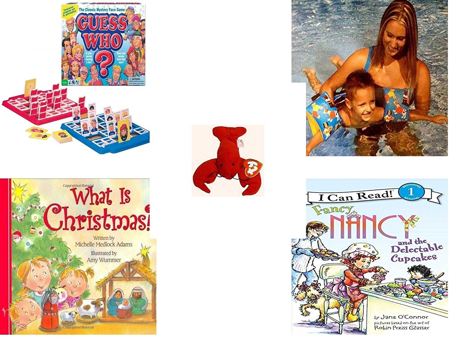 Children's Gift Bundle - Ages 3-5 [5 Piece] - Guess Who? Board Game - Arm Bands for Swimming Pug Design Toy - Ty Teenie Beanie Babies - Pinchers the Lobster - What Is Christmas? Board Book - Fancy
