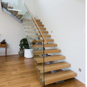Solid Wood Stairs Single Carbon Steel Beam Solid Wood Stair Nosing