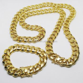 chains chain yellow colossal pin gold link miami mens solid cuban