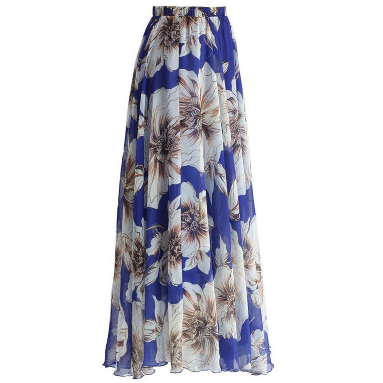 04276e06f9 Get Quotations · JIANGTAOLANG Women Long Beach Skirts High Waist Plissada  Vintage Floral Print Pleated Skirt American Apparel