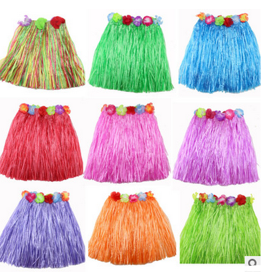 party clothes Elastic waistline Hawaiian hula dancing grass skirt children garment Hawaii Dance Skirt