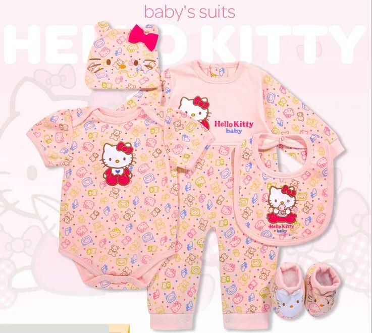 38eb11371 2019 Wholesale Hello Kitty Baby Clothing Set Newborn Girl Clothes ...