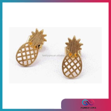 Tropical Flair Cute Fruit Charm 22k Gold Pineapple Stud Earrings