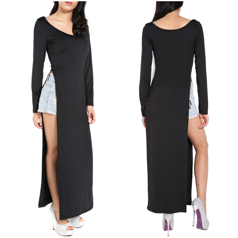 230878ee06944 Get Quotations · 2015 Spring New Women Black Long Sleeve Double Side Slit  Maxi Dress Casual Open Side Sexy