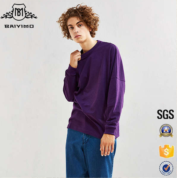 2017 Wholesale China Essential Men Drop Shoulder Blank Oversized Long Sleeve Tees