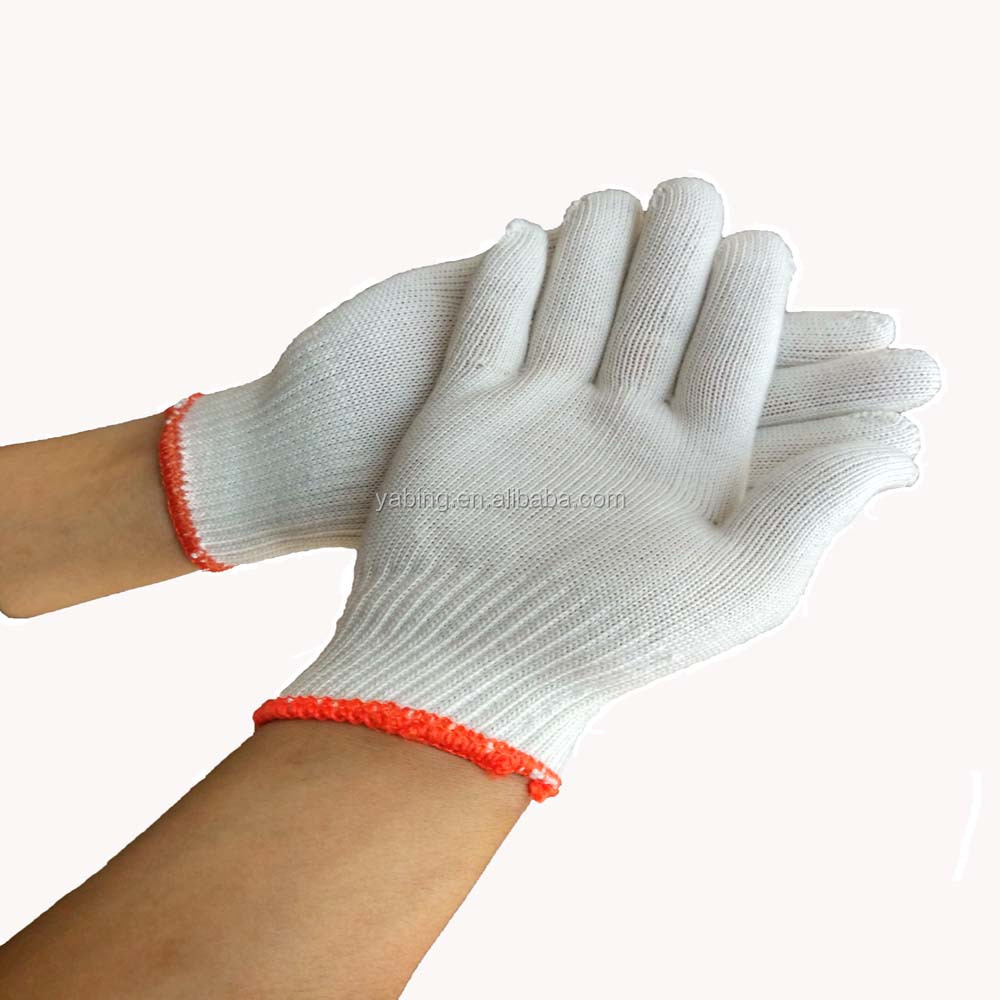 String knit cheap white Cotton Safety hand /working/industrial cotton gloves