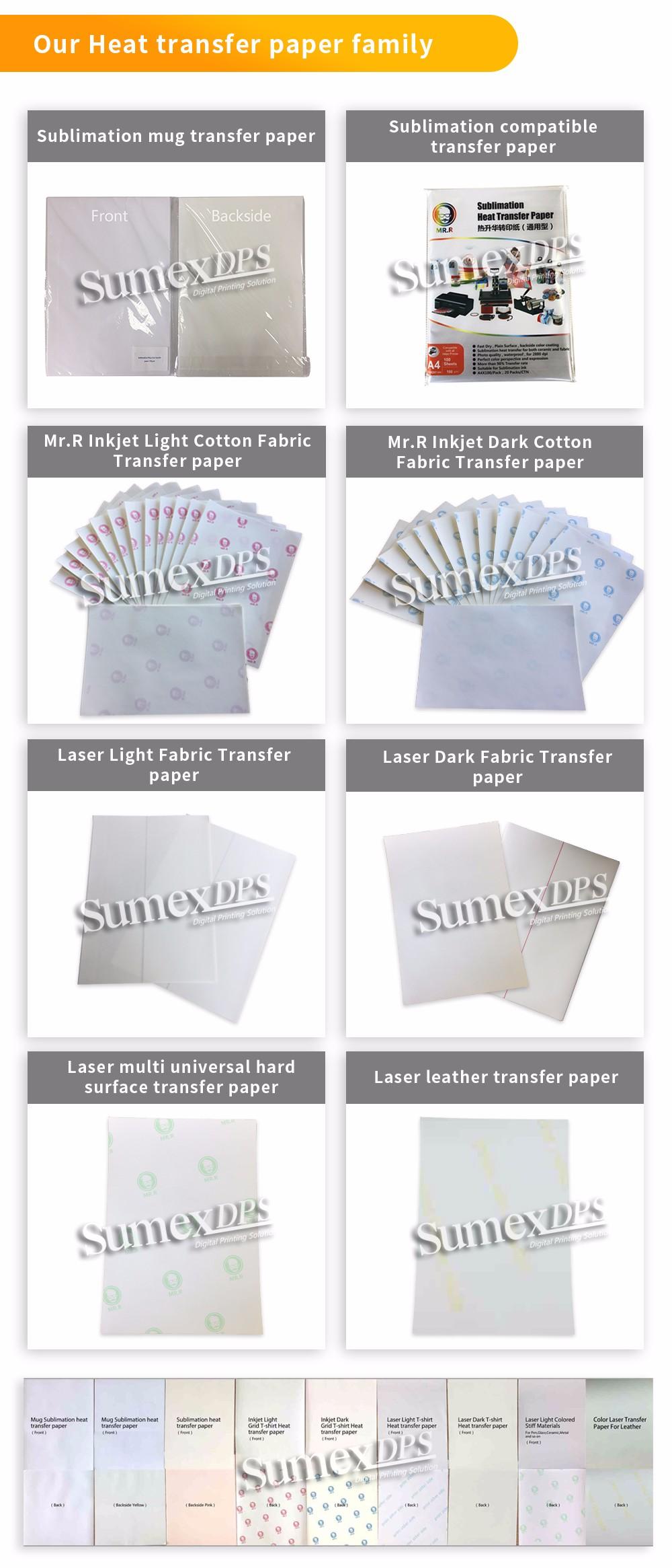 Papel de Transferência de Calor sublimação no cut Superfície Dura 110gsm, A4, imediato secam, para canecas, canecas de vidro, MDF, metal, etc