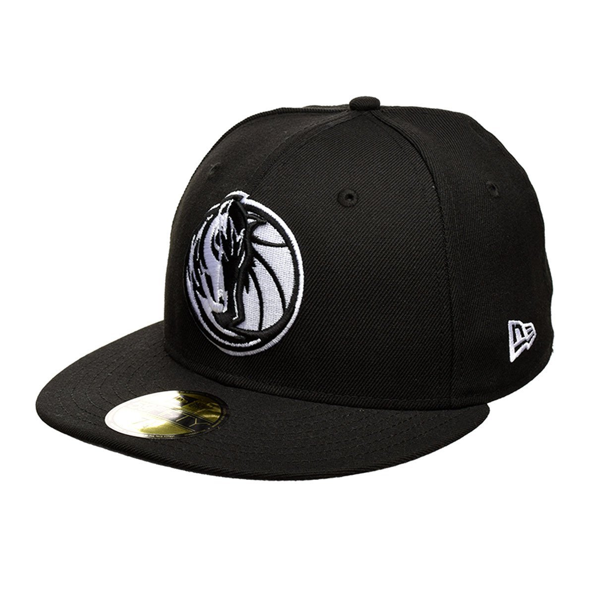 8e70a78046c Get Quotations · New Era Dallas Mavericks White On Black 59Fifty Fitted Hat  (Black)