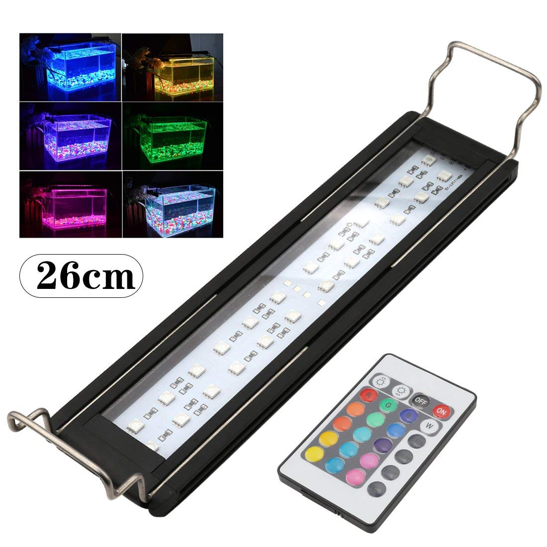 A-SZCXTOP RGB Color 24 LED Aquarium Light Fish Tank Lamp With Extendable Bracket LED Aquarium Lamp For Freshwater And Saltwater