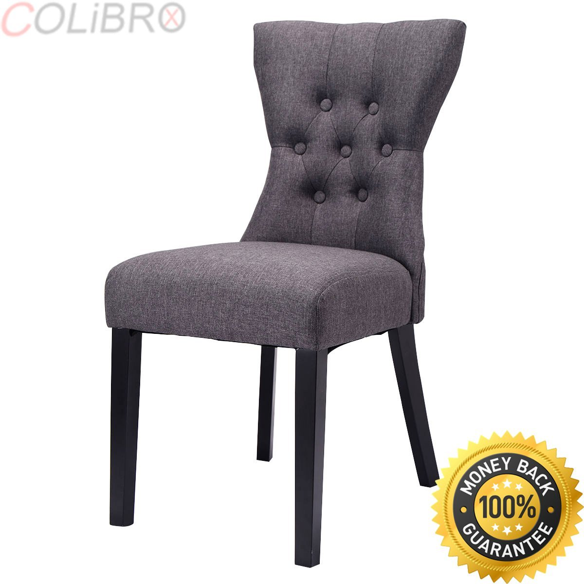Get quotations · colibrox set of 2 dining chair modern armless tufted design living room furniture gray