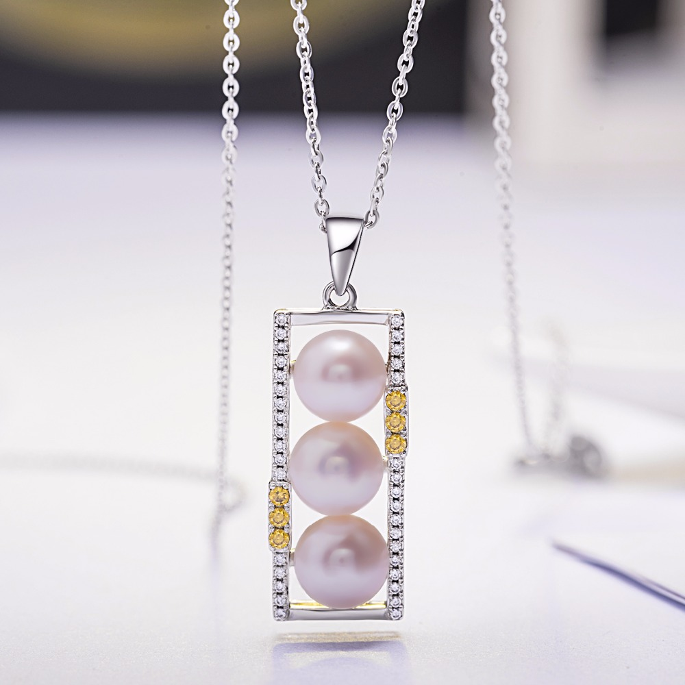 VLOVE new arrival 2018 bead cages pendants 3 pearls lined up necklace silver 925