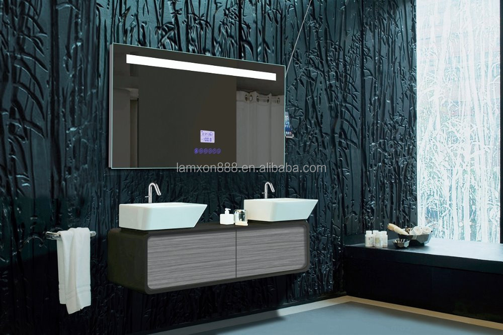 High end hotel bathroom mirror with radio and mp3 and for Mirror hotel