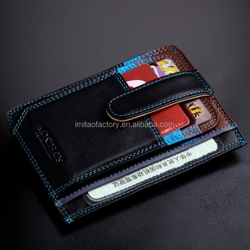 Spain Full Grain Cow Leather card holder ATM card sleeve Cow leather card pouch thin style with Coin Bag