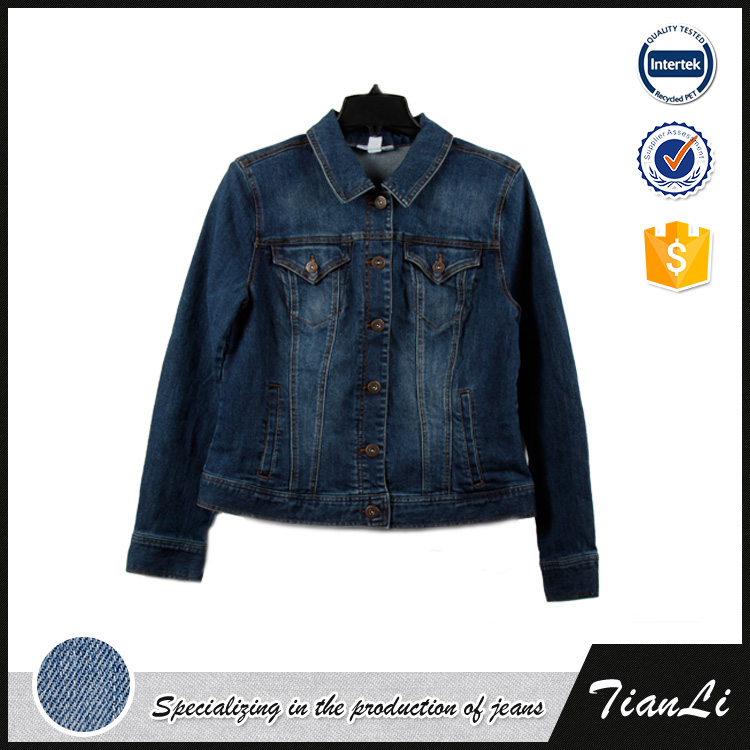 2016 New fashion design custom women washed short blue denim jean jacket