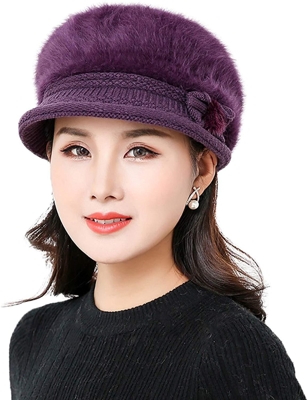 efdc1c391aa Get Quotations · YI HENG MEI Beanie Hats with Visor Cute Wool Cap Warm  Headwear Chemo Cancer Cap for