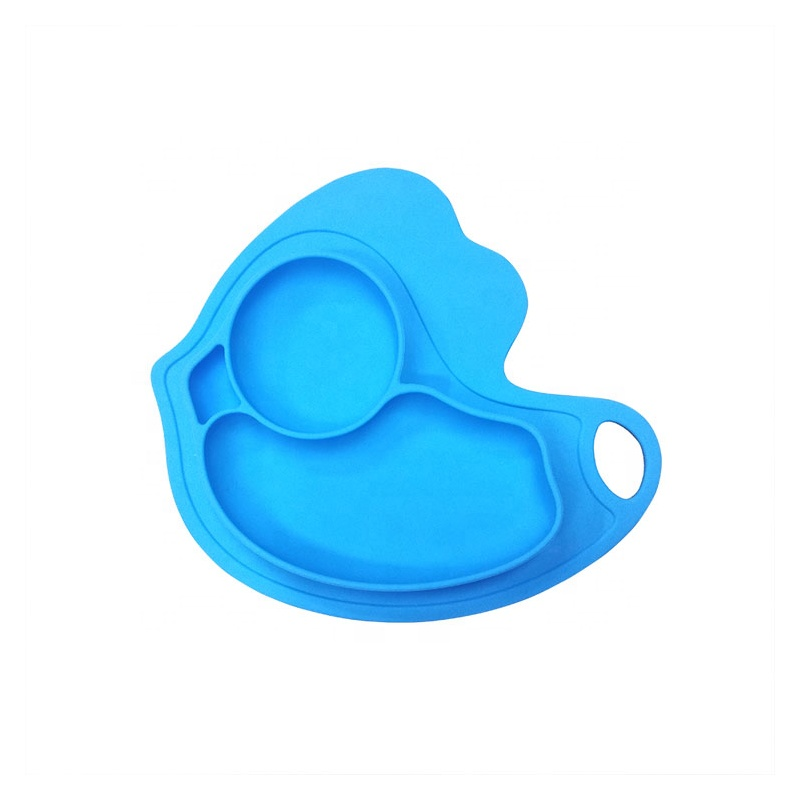 Easily wipes clean animal shape silicone baby suction bowl