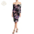 Hot Selling Slash Neck Long Sleeves Floral Print Slim Fit Midi Dress For Women