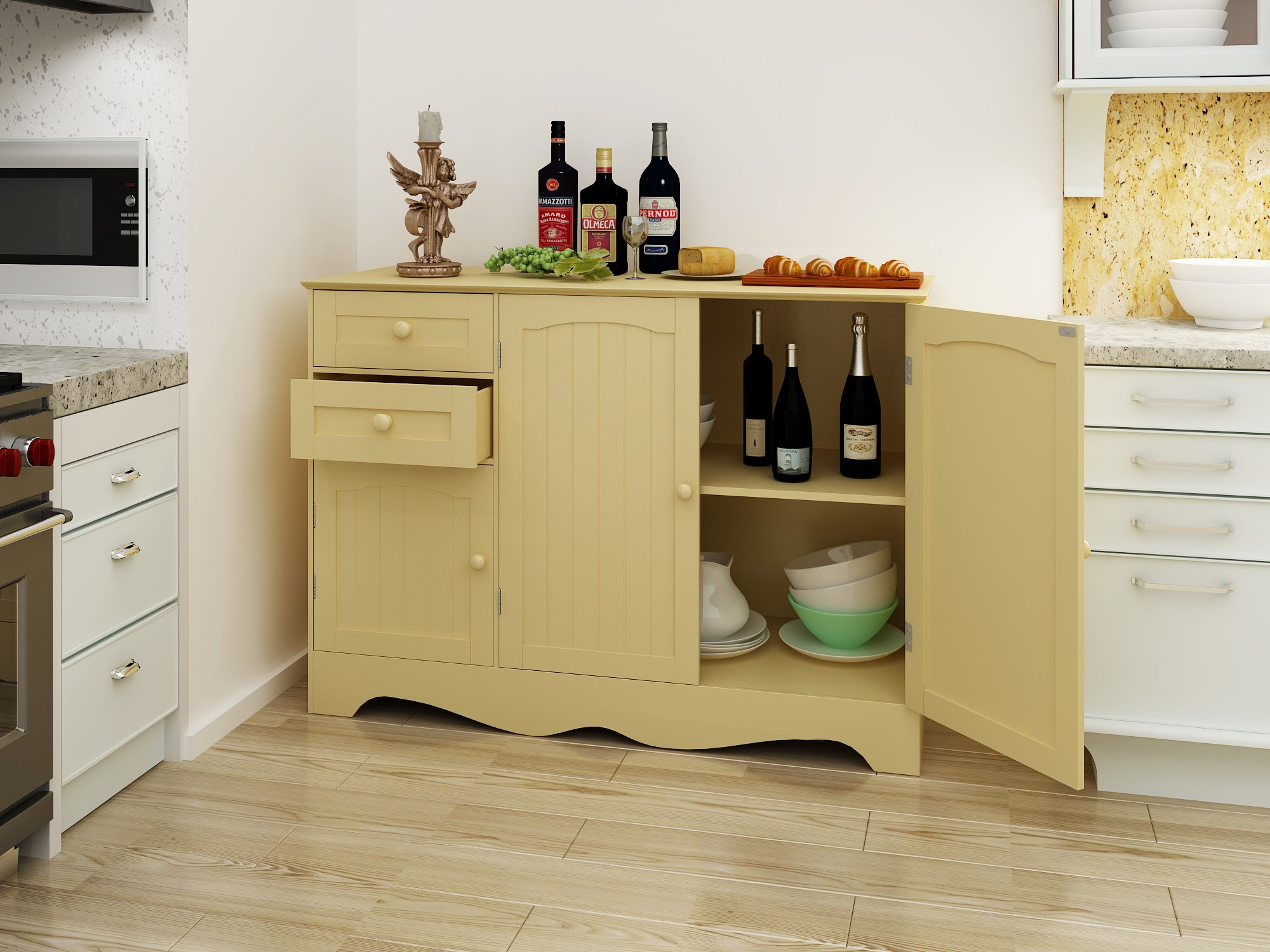 Get Quotations Mulsh Wood Storage Cabinet Kitchen Buffet Unit Dinning Room Furniture With 3 Doors And 2 Drawers
