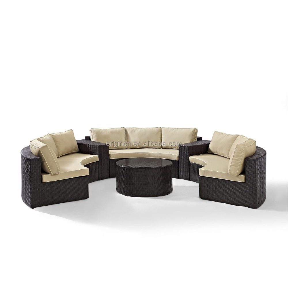 Semi circle patio wicker chairs with sectional arm tables rattan ...