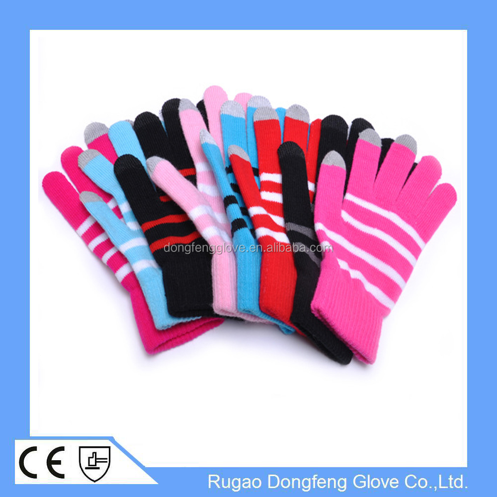 Colorful Striped Smartphone Touch Screen Glove Soft Knitted Touch ...