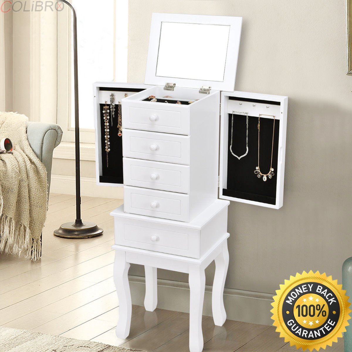 COLIBROX--Jewelry Cabinet Armoire Storage Chest Stand Organizer Wood Free Stand Christmas. armoire jewelry cabinet box storage chest stand organizer. walmart warehouse jobs in bethlehem pa.