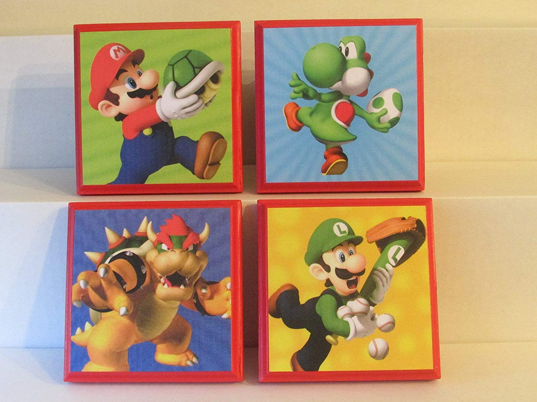 49e3188961 Get Quotations · Mario   Luigi Room Wall Plaques - Set  1 - Red - Set of 4