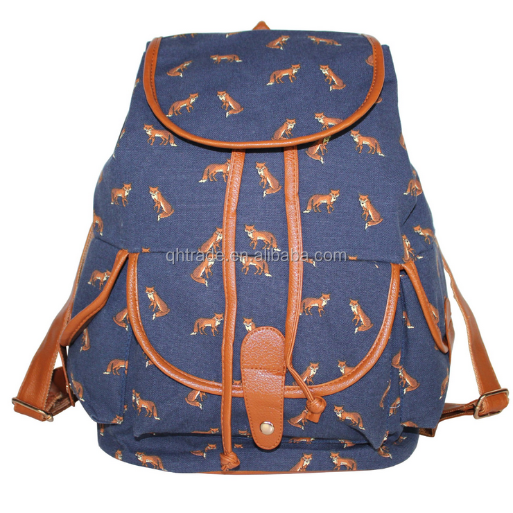 Fashion Women's Cute Kawaii Swallow Animal Print Canvas Backpack Rucksack Travel School College Bag