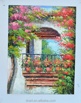 Superbe Beautiful Flower Garden Scenery Oil Knife Painting Storage