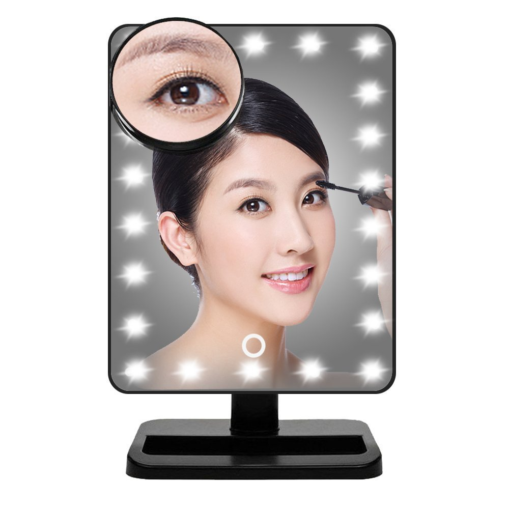 Aimimami Lighted Makeup Mirror, LED Vanity Mirror with 22 LED lights and Touch Screen Dimming, Natural Daylight Mirror with Removable 10x Magnifying Mirror (Black)