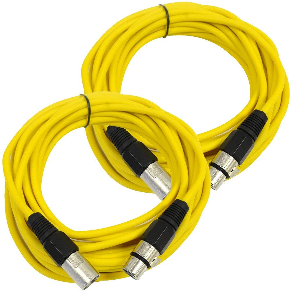 Seismic Audio - SAXLX-25Yellow-2Pack - Pair of Yellow 25 Foot XLR Male to Female Microphone or Patch Cable (2 Pack)