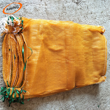 5% UV addition orange color long time use firewood mesh bag with drawstring