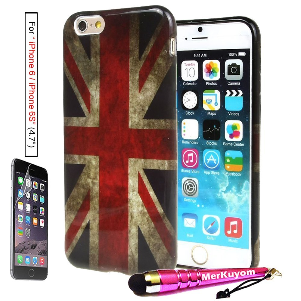 MerKuyom® Package-Fit [iPhone 6S / iPhone 6], (4.7-inch) iPhone 6/6S Case Protector,[Retro UK Flag] [Slim-Fit] [Flexible Gel] Soft TPU Case Cover For Apple iPhone 6 6S (4.7-inch),+ Stylus