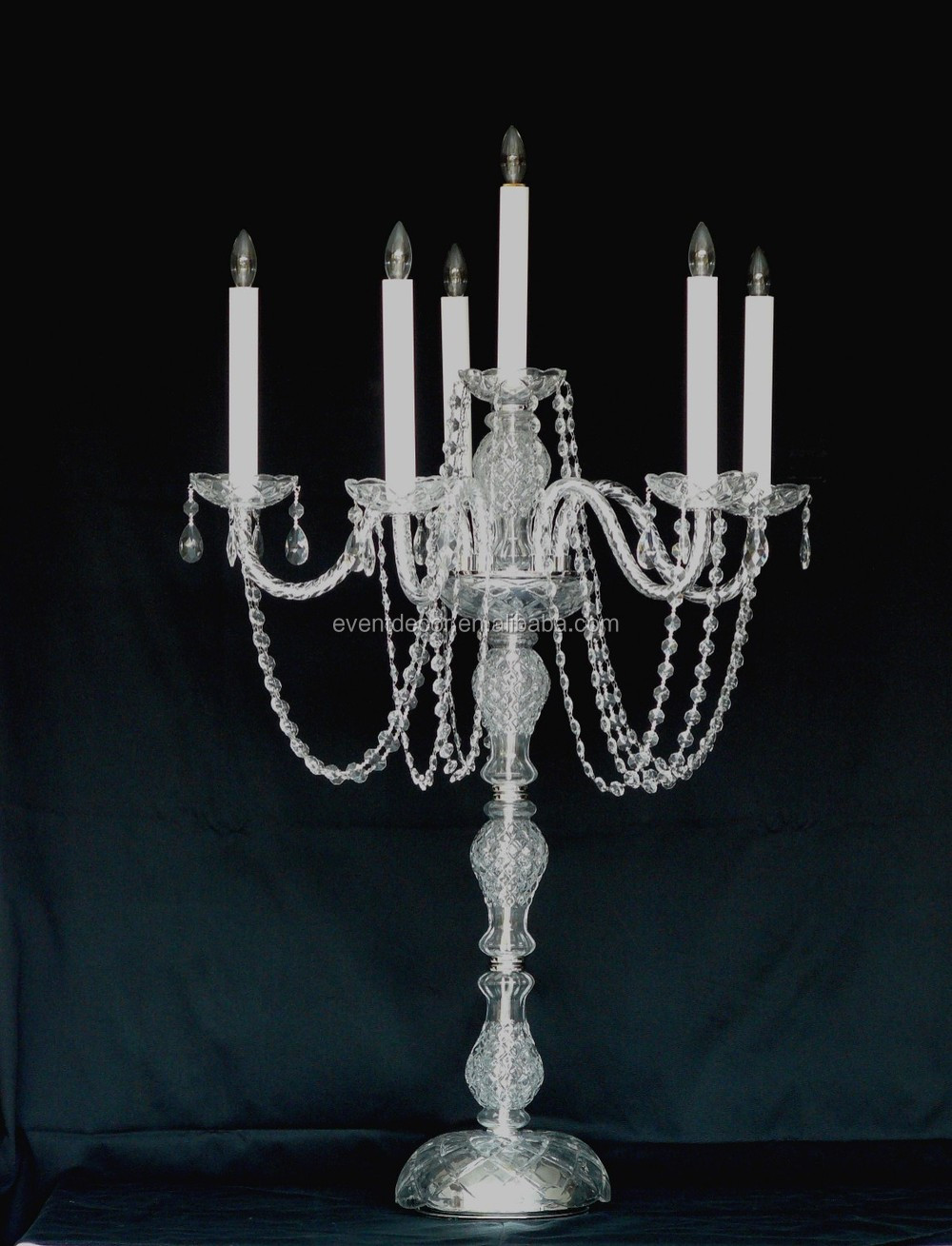 Unique Glass Candelabra , Tall Wedding Table Candelabra Centerpieces