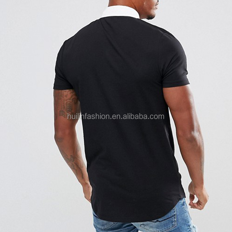 14f7cbc3 Men's Polo Shirt Longline Muscle Fit Plain Black Short Sleeve Polo Shirts  With Curved Hem