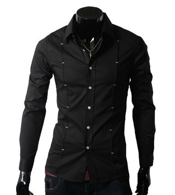 Mens Contrast Cuff Fashion Black Dress Shirt With White Collar ...