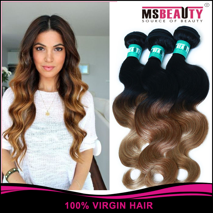 Aliexpress wholesales virgin hair Wigs , 3 T Ombre 100 Virgin Malaysian body Hair