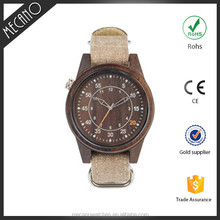 Bamboo Wood Mens Wrist Watch Logo Customed Wood Watches Canvas Strap Western Watch
