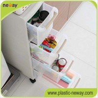 Multi-usage plastic divided drawer storage cabinet