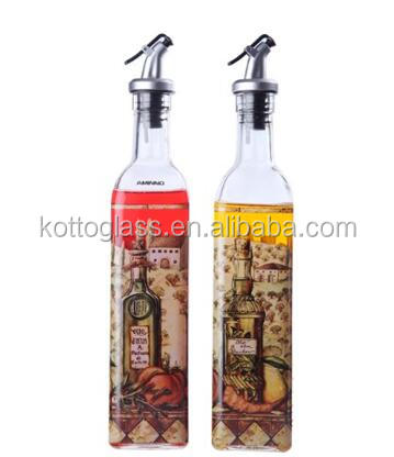 Oil and Vinegar Dispenser - Oil and Vinegar Bottles - 2 Pack 16 Oz Cruets