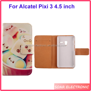 Cute funny design wallet leather case for Alcatel Pixi 3 4.5 inch