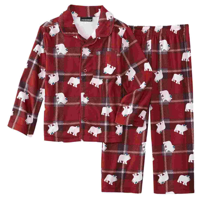 Red 4//5 XS Jelli Fish Kids Boys 3-Piece Football No Weakness Pajama Set