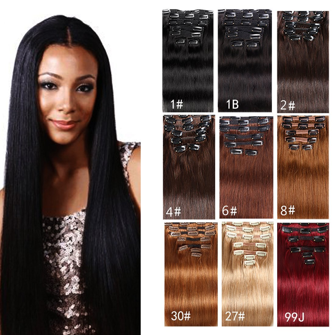 """Clip in Hair Extensions Human Hair Brazilian Virgin Hair Double Weft Full Head Straight Natural Jet Black Brown Blonde Copper Red Burgundy 70g-160g 7 Pieces/set 8""""-28"""" (200g 28"""", Jet Black)"""