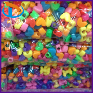 New Style 9mm Mixed Color Heart Shape Big Hole Plastic Pony Opaque Acrylic Beads