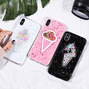 3D Dynamic Ice Cream Phone Case For iphone X Glitter Bling Back Cover Lovely Cartoon Sprinkles Cases For iphone7