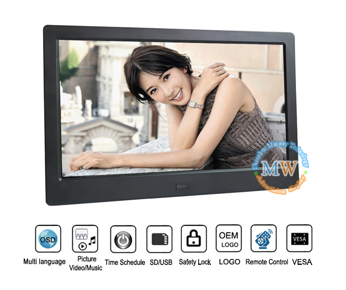 Chinese video gif wall mounting android wifi ips 1080p 10inch digital photo frame