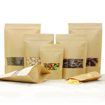 OEM Zipper Packaging Food Stand Up Pouch Wholesale Kraft Paper Bag