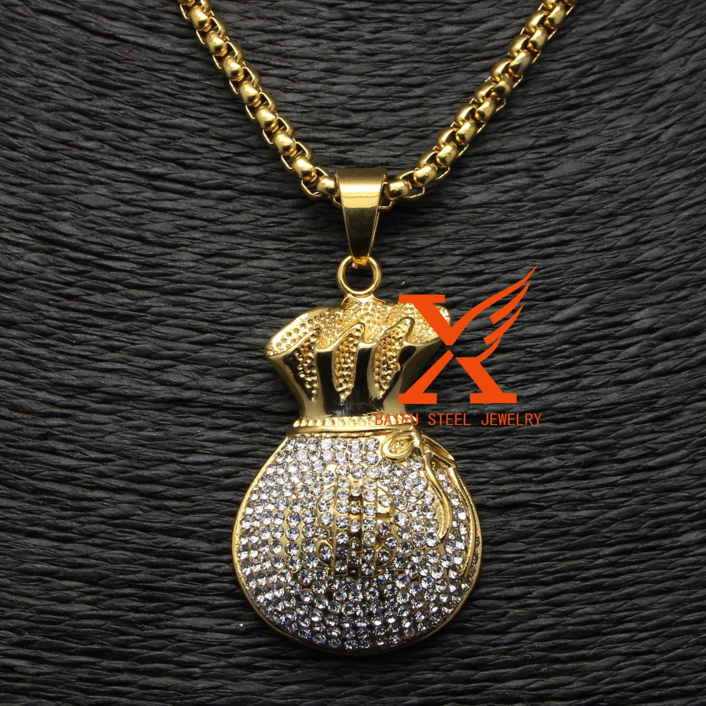 Stainless Steel Hiphop Jewellry Fashion Gold Plated Dollar Purse Pendant