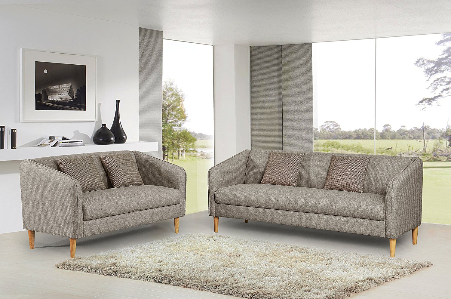 Container Furniture Direct Helton Collection 2 Piece Collection Modern Reversible Fabric Living Room Sofa Set, Beige